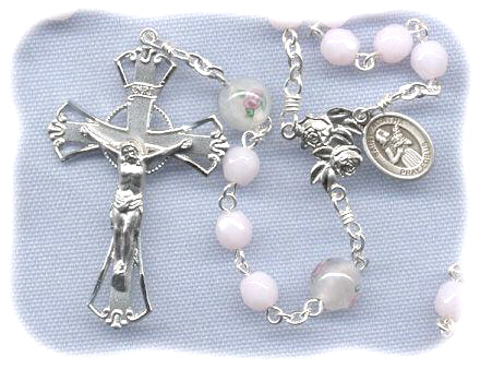 Soft Pink Opal Breast Cancer Rosary
