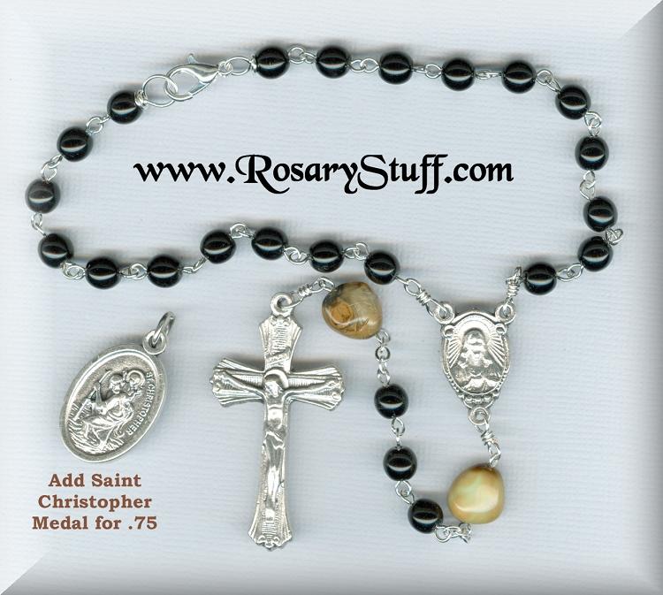 One of a Kind Jet Black Czech Glass Sacred Heart Car Rosary