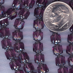 Custom Amethyst/Silver 6mm Czech Glass Cathedral ROSARY