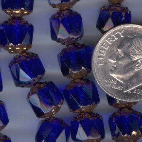 Custom Cobalt Blue/Bronze 8mm Czech Glass Cathedral Rosary