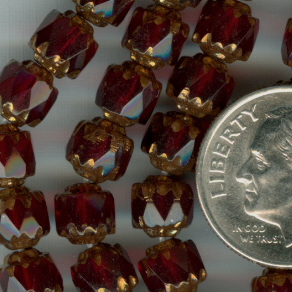 Custom Ruby/Bronze 6mm Czech Glass Cathedral ROSARY