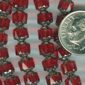 Custom Ruby SIAM/Silver 6mm Czech Glass Cathedral Glass Rosary