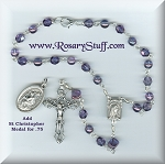 Amethyst Czech Glass Car Rosary ~ February Birthstone