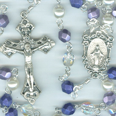 Metallic Purple, Pearl and Clear Glass Rosary