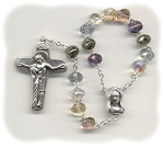 Hand Rosary ~ Multi-Colored Luster Gemstone Single Decade