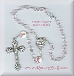 Pink Breast Cancer Awareness Car Rosary ~ St. Agatha