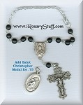 Matte Jet Black Sacred Heart Car Rosary