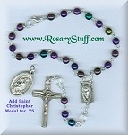 Purple Iris Multi Colored Car Rosary
