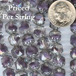 Amethyst-Crystal/Silver Fire Polished Czech Glass Cathedral Beads 8MM