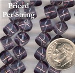 Amethyst (Luster Transparent) Diagonal Cube Czech Glass Beads 8mm