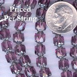 Amethyst/Silver Fire Polished Czech Glass Cathedral Beads 6mm