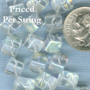 Clear (AB) Diagonal Cube Czech Glass Beads 8mm