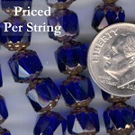 Cobalt Blue/Bronze Fire Polished Czech Glass Cathedral Beads 8MM