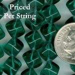 Emerald Green Diagonal Cube Czech Glass Beads 8mm