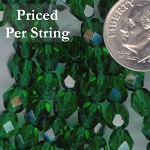 Emerald Green Firepolished Czech Glass Beads 6mm