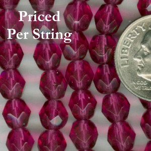 Fuchsia Firepolished Czech Glass Beads 6mm