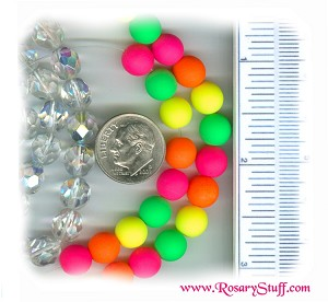 Custom Neon Multi Colored 8mm Czech Glass ROSARY