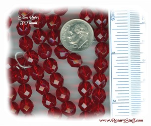 Custom Ruby SIAM 8mm Fire Polished Czech Glass ROSARY