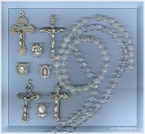 Custom Quartz (Rock Crystal) Crackled 8mm Round Stone ROSARY