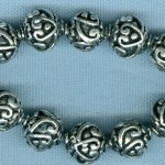 Fancy Heart Filigree Silver Plate Beads 9mm
