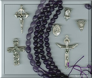 Custom Amethyst 8mm Stone ROSARY with Optional Lavender Paters