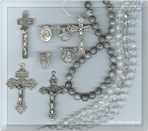 Cusom Czech Glass and Gray Crazy Lace Agate Stone ROSARY