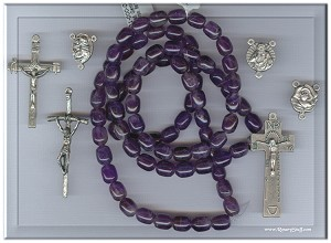 Custom Amethyst 8x10mm Egg Shaped Stone ROSARY
