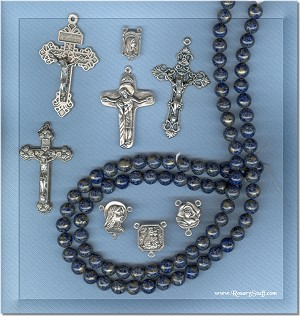 Custom Lapis with Pyrite 8mm Stone ROSARY