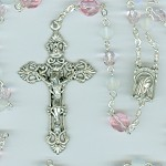 Birthstone: October Czech Glass Rosary ~ PINK TOURMALINE & OPAL