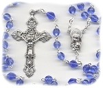 Birthstone: September Czech Glass Rosary ~ SAPPHIRE