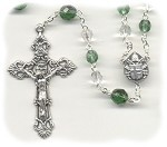Birthstone: October Czech Glass Rosary ~ GREEN TOURMALINE