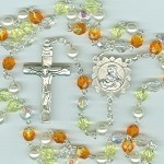 Sunflower Czech Glass Rosary