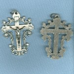 Ornate Flower Crucifix ~SP~ 1 3/4 in.