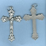 Ornate Ribbon Crucifix ~SP~ 1 3/4 in