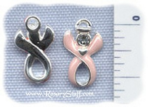 Breast Cancer Guardian Angel Awareness Ribbon Charm ~ Swarovski