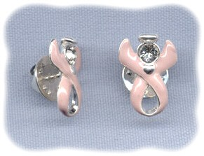 Breast Cancer Guardian Angel Awareness Ribbon Pin ~ Swarovski