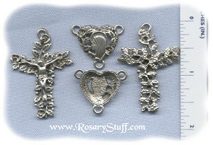 Leafy Roses & Hearts Rosary Set ~ Pewter