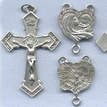 Madonna & Child Heart Rosary Set ~ Pewter/Pink