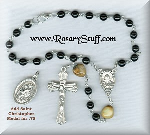 Jet Black Czech Glass Sacred Heart Car Rosary