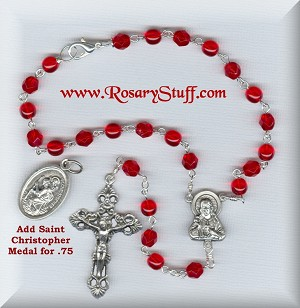 Siam Ruby Sacred Heart Car Rosary