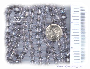 Custom Alexandrite/Silver 6mm Czech Glass Cathedral ROSARY