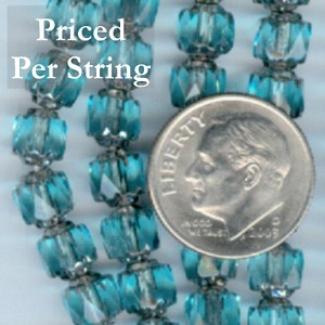 Aqua/Silver Czech Glass Cathedral Beads 6mm