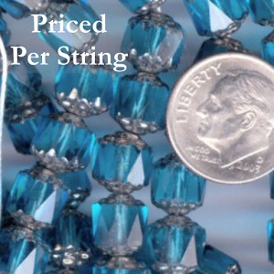 Aqua/Silver Czech Glass Cathedral Beads 8mm