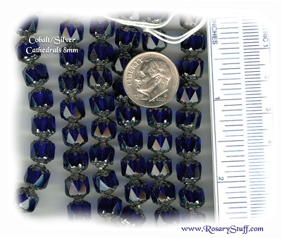 Custom Cobalt Blue/Silver 8mm Czech Glass Cathedral Rosary