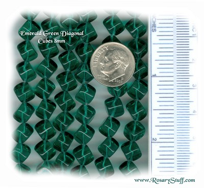 Custom Emerald Green 8mm Czech Glass Diagonal Cube Rosary