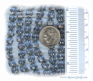 Custom Light Sapphire/Silver 6mm Czech Glass Cathedral ROSARY