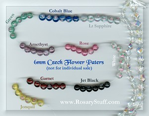 Handmade Czech Glass Pater Beads with Roses 6mm