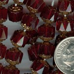Custom Ruby/Bronze 8mm Czech Glass Cathedral ROSARY