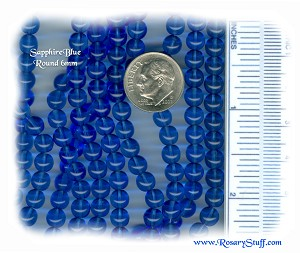 Custom Sapphire Blue 6mm Round Czech Glass ROSARY