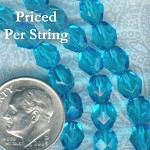 Aquamarine Firepolished Czech Glass Beads 6mm